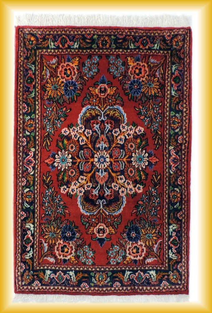 w-100 ペルシャ絨毯・カーペット ウール100% 手織り ペルシャ絨毯の本場(イラン ハメダン産) 玄関マットサイズ【アンティーク/ビンテー…