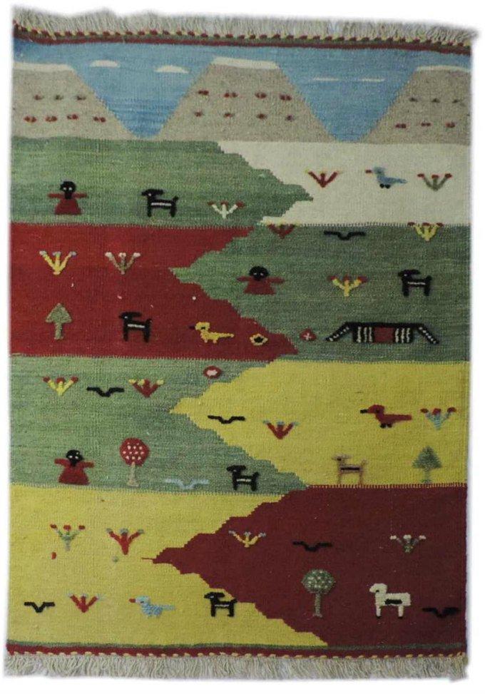 w-236 キリム 手織り ウール100% ペルシャ イラン:シラーズ産 玄関マットサイズ【カーペット/ラグ】
