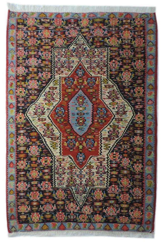 pk-242 キリム 手織り ウール100% ペルシャ イラン:セネ産 玄関マットサイズ【カーペット/ラグ】