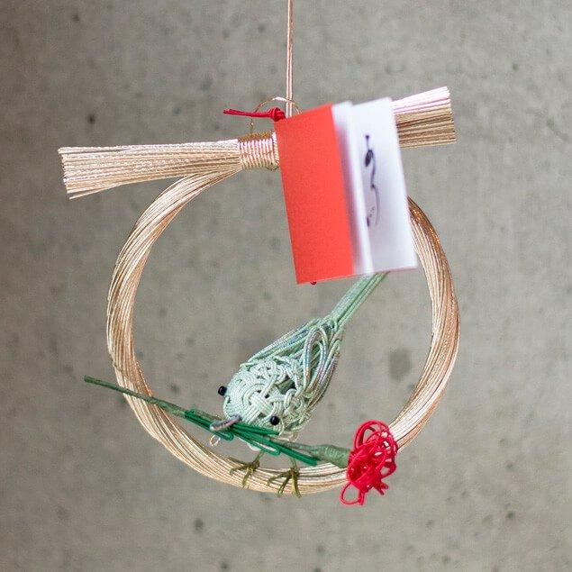 水引の和リース 花喰鳥(カーネーション)