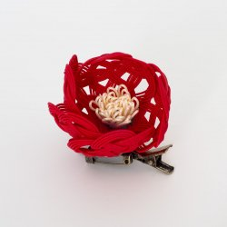 椿のブローチ/髪飾り(赤)