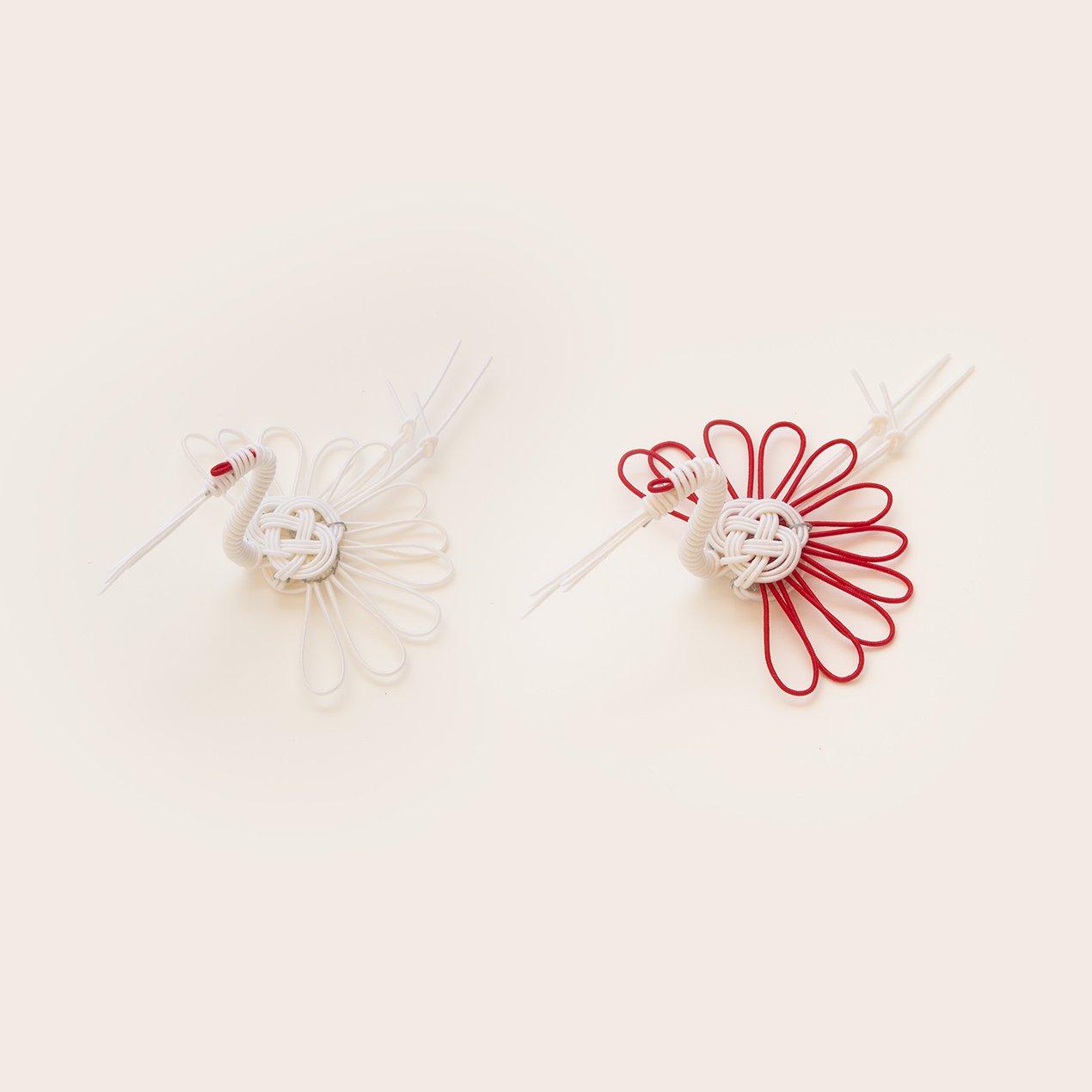 祝い鶴の箸置(紅白2個セット)