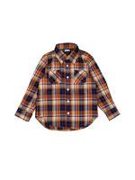 【KIDS MADRAS PLAID B.D SHIRTS / ORANGE】