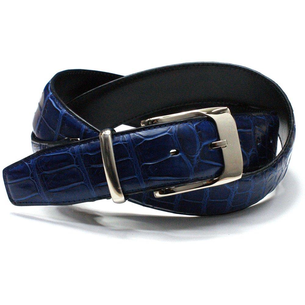 1f83efdc479e クロコダイル革ベルト レザーベルト、藍染め、青、日本製、送料無料、クロコベルト、ワニ革本革