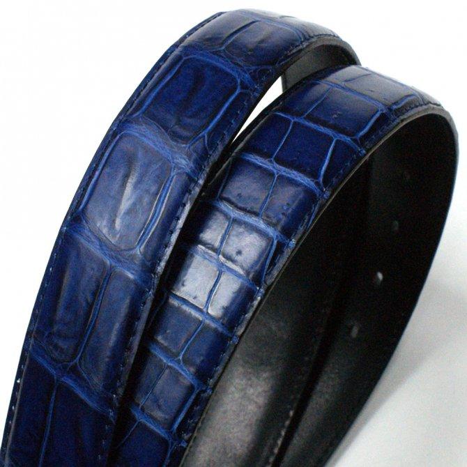 343f456377ce クロコダイル革ベルト レザーベルト、藍染、、日本製、送料無料、クロコベルト、ワニ革本革。