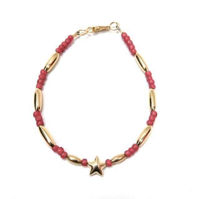 ビンゴブラザーズ ビーズ(ピンク)×ゴールドパイプ スターブレスレット星1つ(レギュラー)
