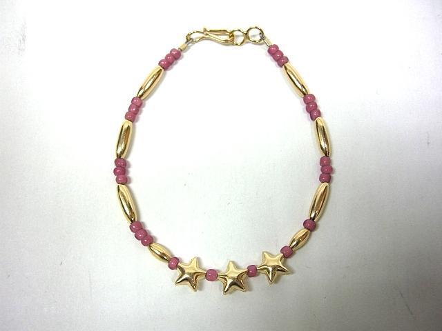 ビンゴブラザーズ オールドビーズ(ピンク)×ゴールドパイプ スターブレスレット・星3つ(レギュラー)