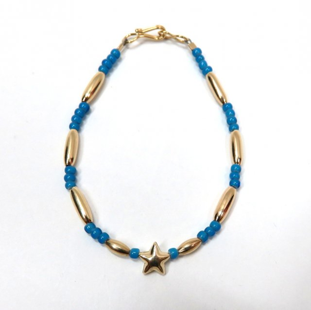 ビンゴブラザーズ ビーズ(ブルー)×ゴールドパイプ スターブレスレット星1つ(レギュラー)