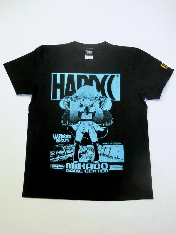 ゲーセンミカド×ハードコアチョコレート「ミカドちゃん」Tシャツ(教育の敗北ブラック)