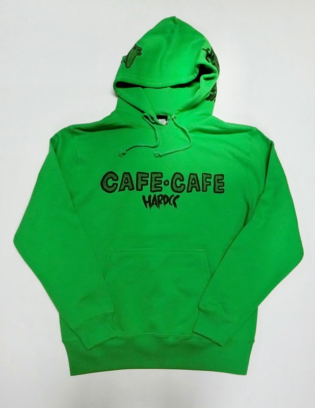 100日後に死ぬワニ/CAFE・CAFE プルオーバーパーカ(ドキドキ・ブライトグリーン)