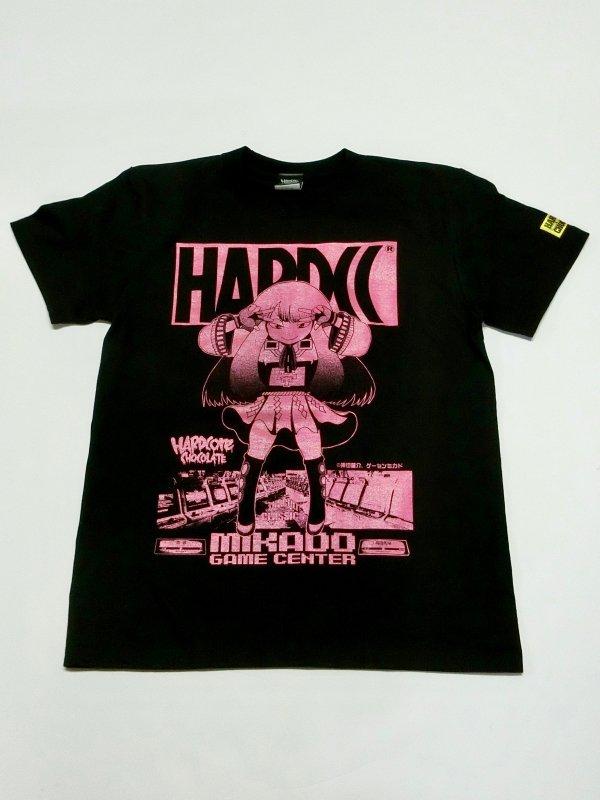 ゲーセンミカド×ハードコアチョコレート「ミカドちゃん」Tシャツ(指つっこむやつブラック)