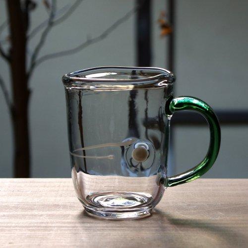 <img class='new_mark_img1' src='https://img.shop-pro.jp/img/new/icons53.gif' style='border:none;display:inline;margin:0px;padding:0px;width:auto;' />渡邊徳明・耐熱ガラス・マグカップ 緑クリア