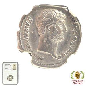 [古代ローマコイン ハドリアヌス帝 デナリウス銀貨] フィデース神 【NGC鑑定 VF】 no.9