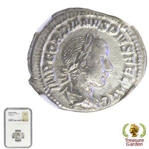 [古代ローマコイン ゴルディアヌス3世 デナリウス銀貨] ピエタス神 【NGC鑑定 VF】 no.16
