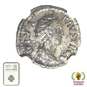 [古代ローマコイン ファウスティナ・シニア デナリウス銀貨] ファウスティナ・マヨル 大ファウスティナ 【NGC鑑定 V…