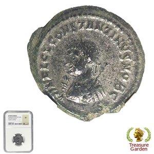 [古代ローマコイン コンスタンティヌス2世  AE3銅貨] コンスタンティン2世 門 【NGC鑑定 XF】 no.2