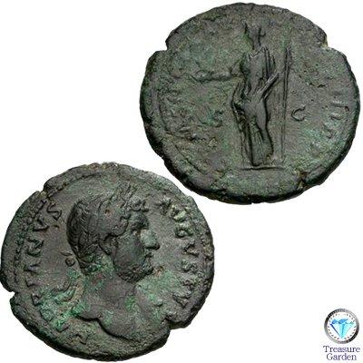 [古代ローマコイン ハドリアヌス帝 アス銅貨] クレメンティア神 no.7 (アンティークコイン販売)