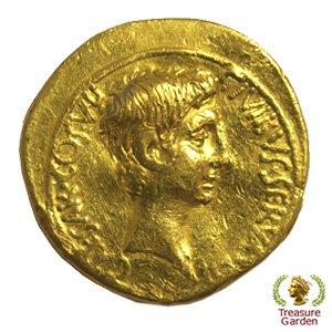 [古代ローマコイン アウグストゥス帝 アウレウス金貨]  【NGC鑑定 ホルダーなし】 初代ローマ皇帝 イーグル (アンティークコイン販…