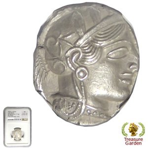 [古代ギリシャコイン アッティカ テトラドラクマ銀貨 BC440-404] 女神アテナ フクロウ 【NGC鑑定 MS】 no.…