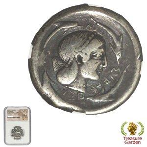 [古代ギリシャコイン シチリア シラクサ テトラドラクマ銀貨 BC485-465] 女神アレトゥーサ 4頭のイルカ 【NGC鑑定 Ch F】 no…