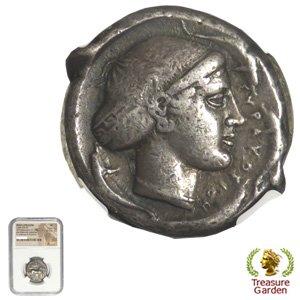 [古代ギリシャコイン シチリア シラクサ テトラドラクマ銀貨 BC430-420] 女神アレトゥーサ 4頭のイルカ 【NGC鑑定 VF】 no…