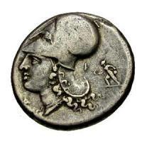 古代ギリシャ コリント式ヘルメット 女神アテナ ステーター銀貨 BC300-270 古代コイン/販売