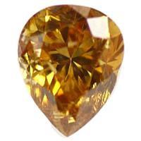 オレンジダイヤモンド Fancy Intense Yellwish Orange 0.096ct ペアシェイプ 天然カラーダイヤモンド