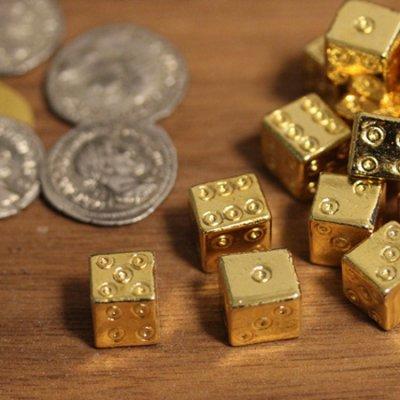 [幸運の黄金サイコロ 2個セット] 古代ローマ風 アンティーク ダイス 純金コーティング ゲーム用