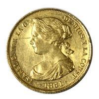 [スペイン 1861年 イザベラ2世 100レアル 金貨] /アンティークコイン販売