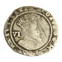 中世イギリス(イングランド) ジェームズ1世 1607-1609年 6ペンス銀貨 アンティークコイン販売