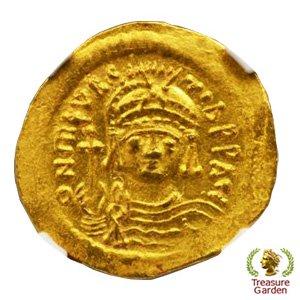 古代ビザンチン帝国 ソリダス金貨 ティベリウス帝 NGC-ChAU(準未使用+)