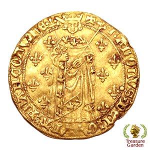 [中世フランス シャルル7世 ロイヤル金貨 1422-1461年頃] (アンティークコイン販売)