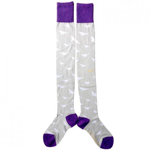 コトリのマークオーバーニー(グレー紫)(22-26cm)