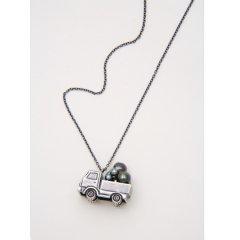 あなたに会いに ネックレス 素材:アンティーク加工 真鍮 パール:本真珠 黒