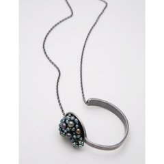 一口で食べたい ネックレス ブレスレット アンティーク 素材:アンティーク加工 真鍮 パール:本真珠 黒
