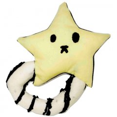 星のガラガラ (持ち手が白 星の裏が黒)