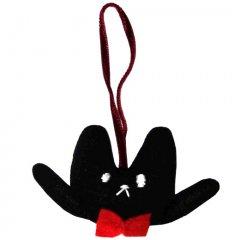 クマくんの顔 ストラップ 【顔黒BLACK 紐赤RED】