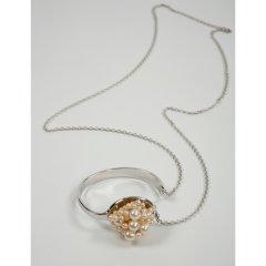 一口で食べたい ネックレス ブレスレットアンティーク 素材:真鍮 パール:本真珠 白