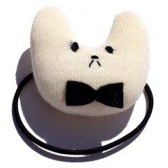 クマくんの顔 ヘアゴム 【04 白 WHITE】