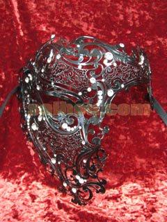 ヴェネチアンマスク ファントム メタル製細工 ブラック