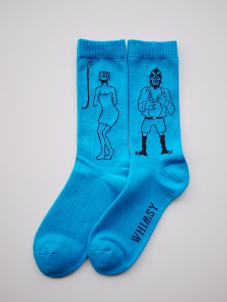 WHIMSY 32/1 SHOWER ROOM SOCKS (BLU)