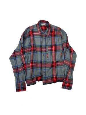 <img class='new_mark_img1' src='//img.shop-pro.jp/img/new/icons14.gif' style='border:none;display:inline;margin:0px;padding:0px;width:auto;' />JieDa CUT OFF FLANNEL SHIRT (RED)