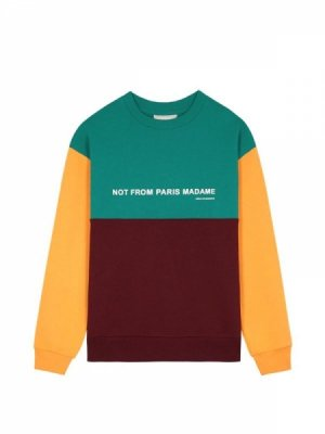<img class='new_mark_img1' src='//img.shop-pro.jp/img/new/icons14.gif' style='border:none;display:inline;margin:0px;padding:0px;width:auto;' />DROLE DE MONSIEUR   Paneled Slogan Sweatshirt (#A)