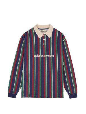 <img class='new_mark_img1' src='//img.shop-pro.jp/img/new/icons14.gif' style='border:none;display:inline;margin:0px;padding:0px;width:auto;' />DROLE DE MONSIEUR      Striped Polo Fleece