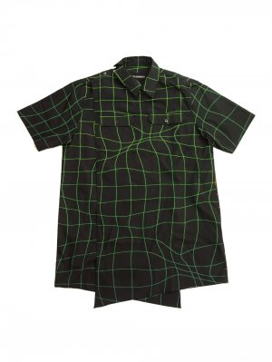 <img class='new_mark_img1' src='//img.shop-pro.jp/img/new/icons14.gif' style='border:none;display:inline;margin:0px;padding:0px;width:auto;' />YUKI HASHIMOTO WAVE GRID CROSSOVER SHORT SLEEVE SHIRTS (BLK)