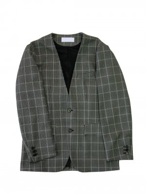 [40%OFF] NEON SIGN GLEN CHECK NO COLLER JACKET (GRY)