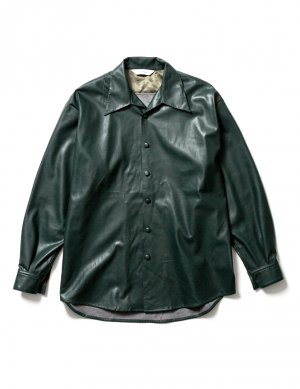 <img class='new_mark_img1' src='https://img.shop-pro.jp/img/new/icons14.gif' style='border:none;display:inline;margin:0px;padding:0px;width:auto;' />Sasquatchfabrix. FAKE LEATHER OPEN COLLAR SHIRT (GRN)