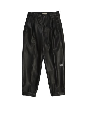 JieDa FAKE LEATHER 2TUCK TAPERED PANTS