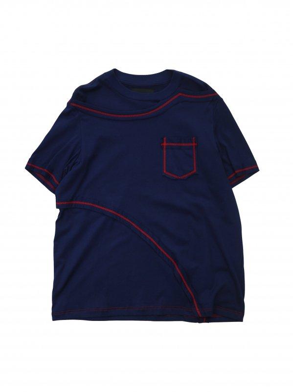 [40%OFF] YUKI HASHIMOTO CONTRAST LAYERED T-SHIRTS (NAV)