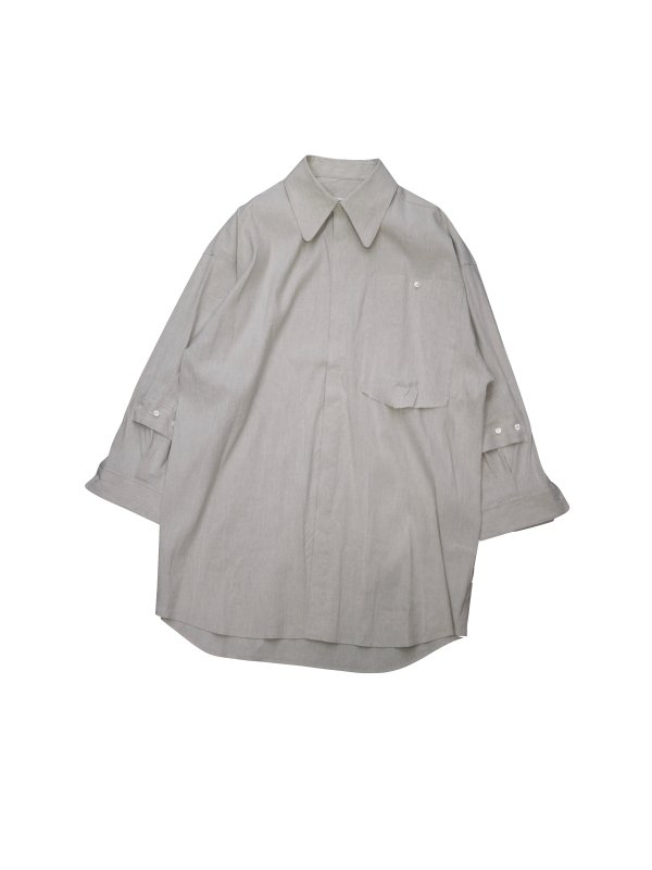 KANIZSA LAYERED SLEEVE LINEN SHIRT